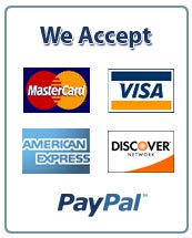 We Accept: Visa, MasterCard, AMEX, American Express, Discover